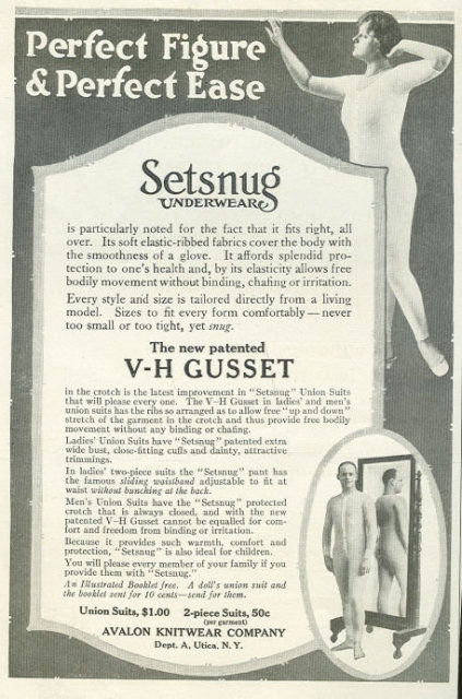 Setsnug Underwear for a Perfect Figure 1916 Advertisement