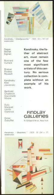 Kandinsky at Findlay Galleries 1967 Magazine Advertisement