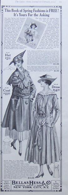 Bellas Hess & Co. Fashion 1917 Magazine Advertisement
