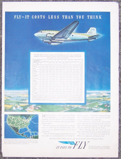1957 It Pays to Fly Magazine Advertisment