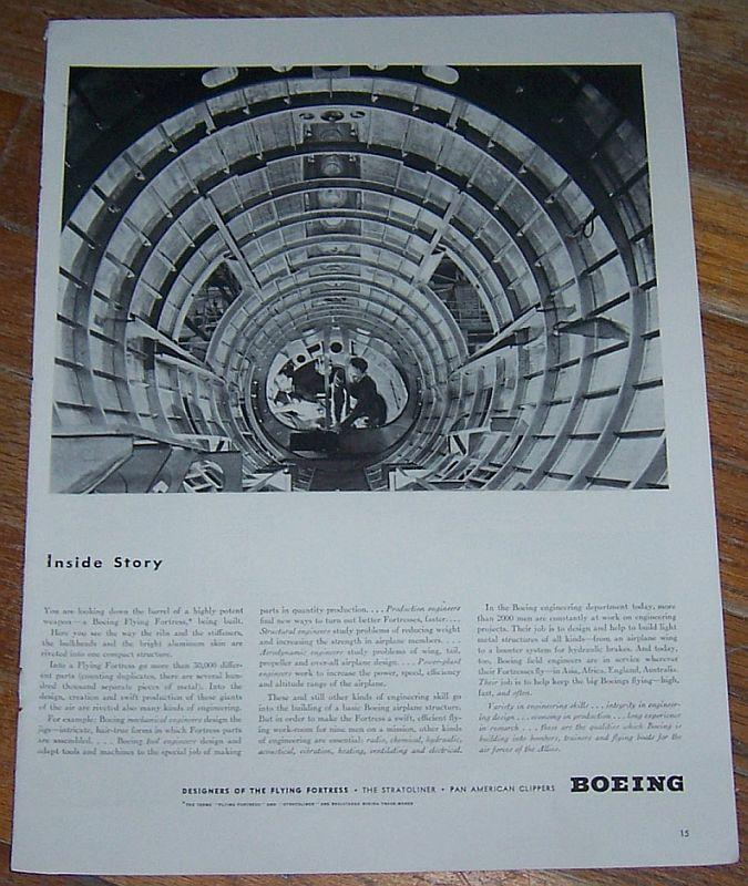 1942 Boeing Flying Fortress World War II Life Magazine Advertisment