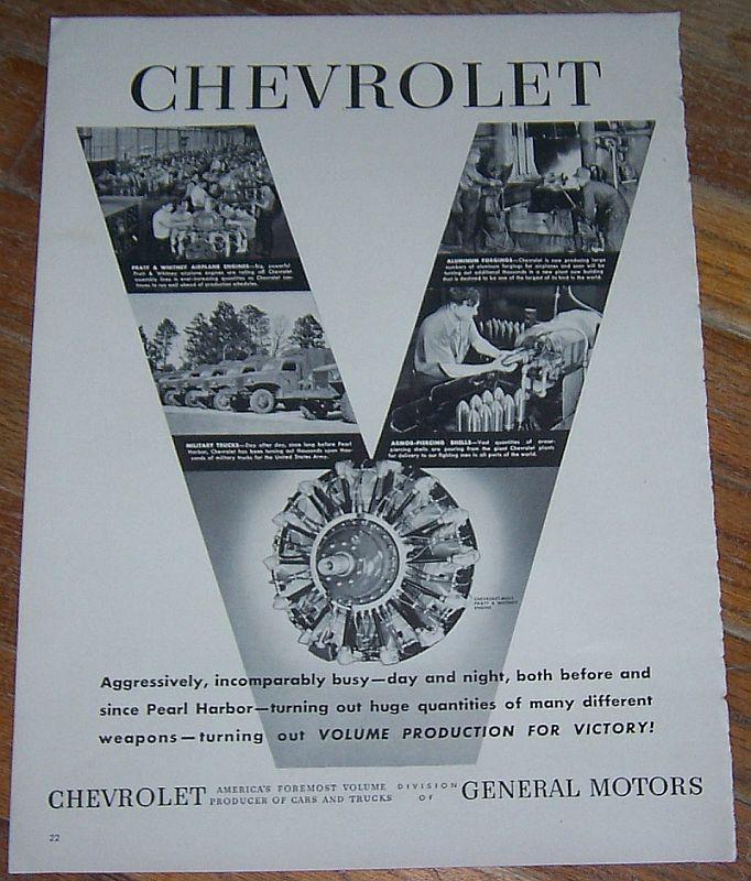 1942 Chevrolet World War II Life Magazine Advertisment Volume Production