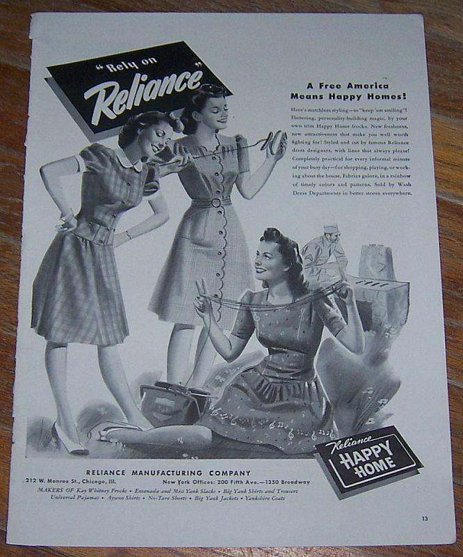 1942 Reliance World War II Life Magazine Advertisment Happy Home Frocks