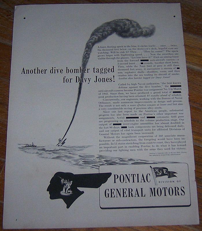 1942 Pontiac World War II Life Magazine Advertisment Dive Bombers