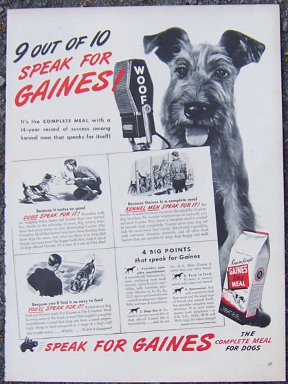1944 Gaines Complete Meal For Dogs Magazine Ad