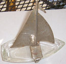 Vintage Glass Sailboat with Chrome Sail Ashtray