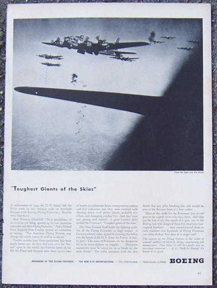 1944 World War II Boeing Flying Fortress Life Magazine Advertisement
