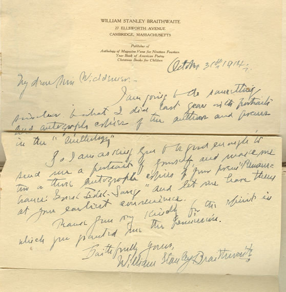 Anthology of Magazine Verse for 1915 Signed Braithwaite