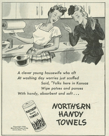 1944 World War II Northern Handy Towels Life Magazine Advertisement