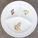 Vintage Divided Baby's Plate with Dog, Cat and Chick