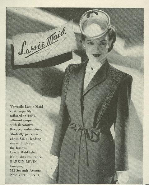 1944 World War II Lassie Maid Magazine Advertisement