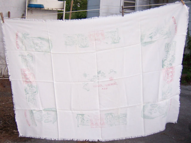 Vintage Hawaiian Islands Aloha Fringed Tablecloth
