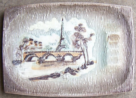 Large Lefton China Ashtray with Paris Scene in Center
