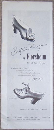 1944 Calfskin Brogies Florsheim Magazine Advertisement
