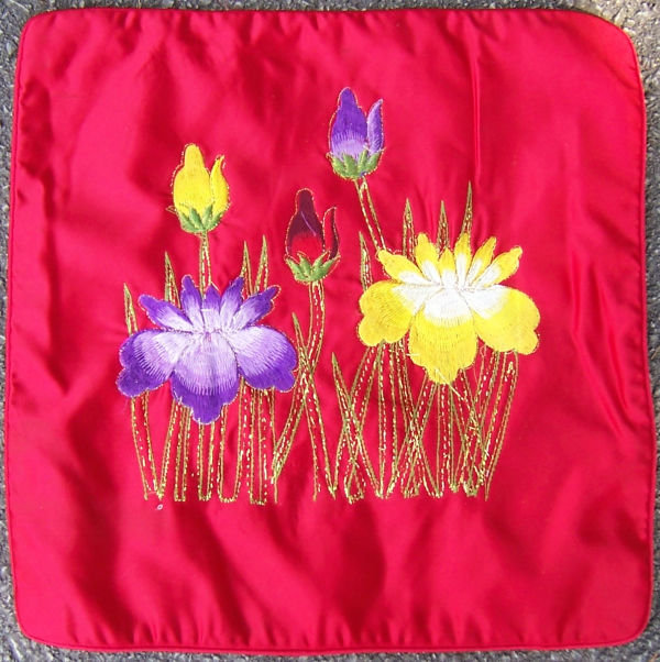 Red Satin Pillow Cover Embroidered with Flowers