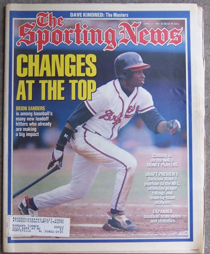 Sporting News April 19, 1994 Deion Sanders on Cover