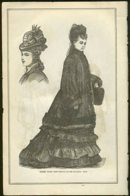 Dress with Hat Costume Page from 1876 Peterson's Mag
