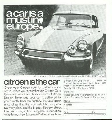 Citroen European Delivery 1967 Magazine Advertisment