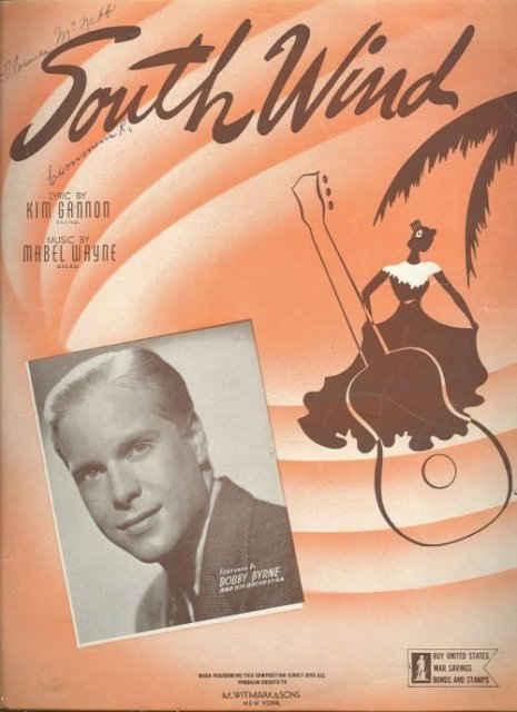 South Wind Featured by Bobby Byrne 1942 Sheet Music