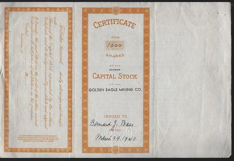 Golden Eagle Mining Co. Washington State Common Stock Certificate 1943