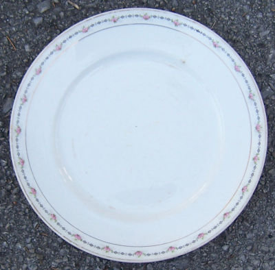 Crooksville China Plate w/ Small Roses and Gold Trim