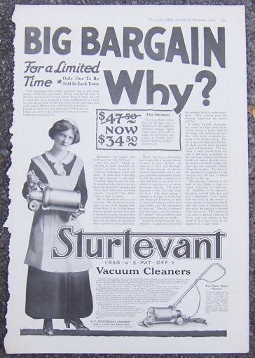Sturtevant Vacuum Cleaners 1916 Magazine Advertisement