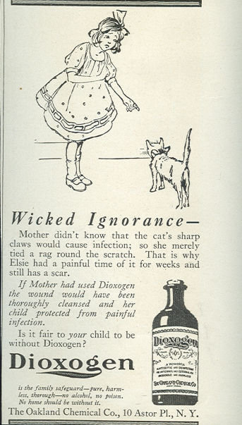 Dioxogen Antiseptic for Child's Cuts 1916 Advertisment