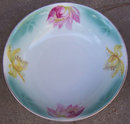 Vintage German Pink and Yellow Floral Serving Bowl