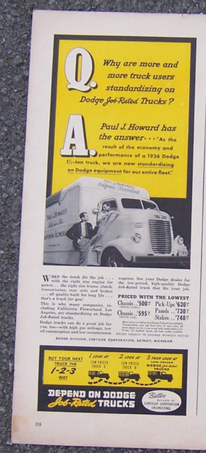 1941 Dodge Job Related Trucks Magazine Advertisment