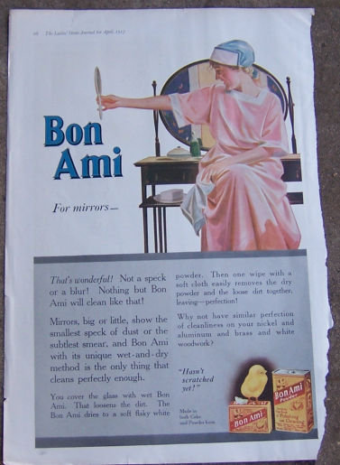 Bon Ami For Mirrors 1917 Color Magazine Advertisement