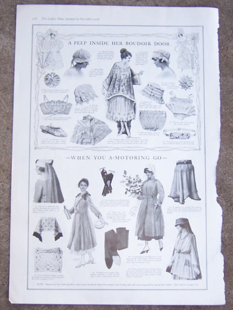 Clothes for the Boudoir and Motoring 1916 LHJ Page