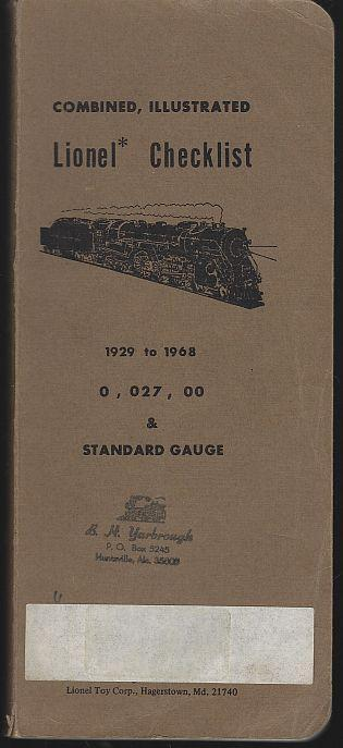 Combined Illustrated Lionel Checklist 1929 to 1969 0, 027, 00 and Standard Gauge
