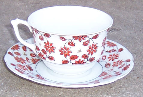 Hadson Occupied Japan Cup and Saucer with Brown Flowers