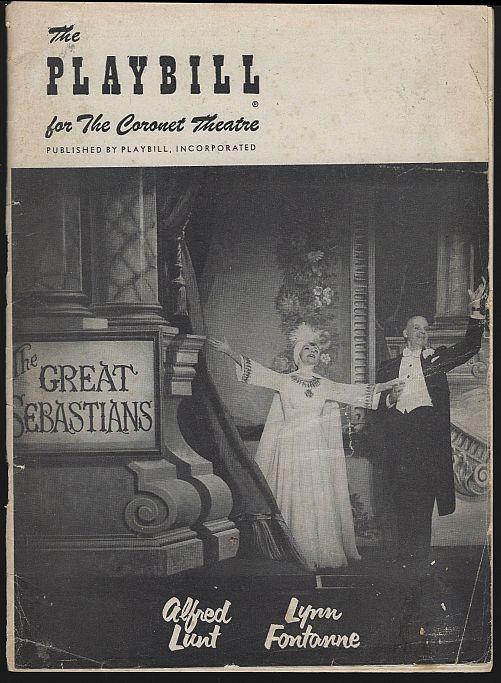 Playbill Great Sebastians Coronet March 26 1956 Alfred Lunt/Lynn Fontanne