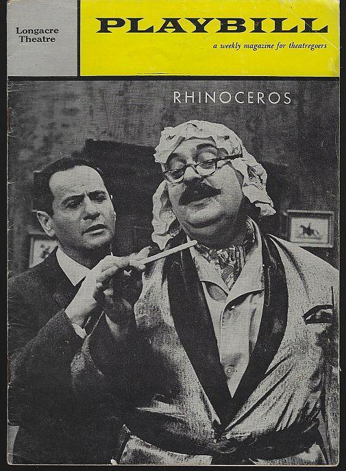 Rhinoceros, Longacre Theatre, May 22, 1961 Starring Eli Wallach and Zero Mostel