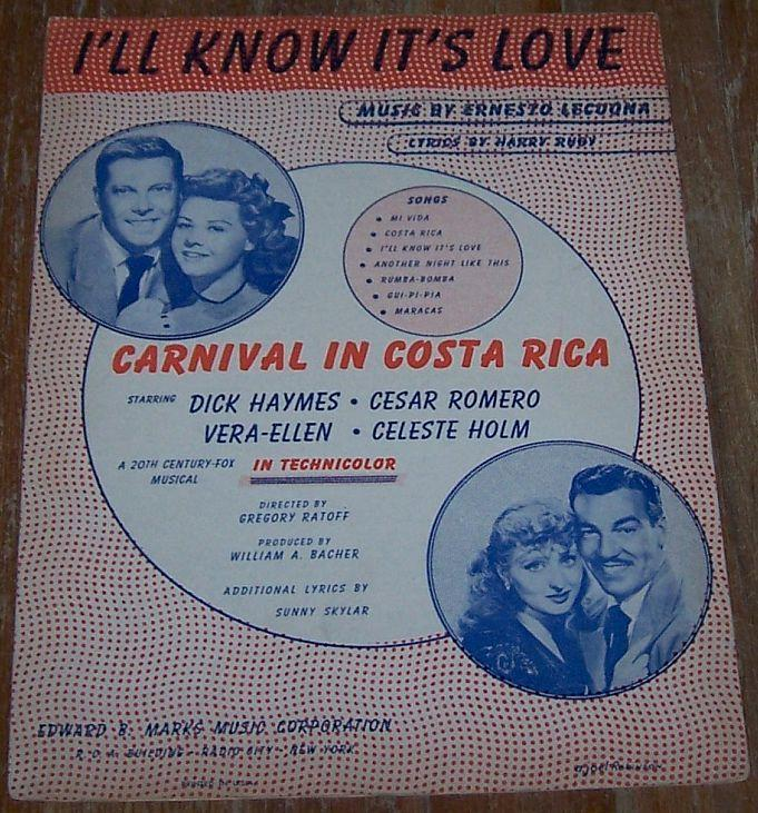 I'll Know It's Love From Costa Rica starring Dick Haymes Cesar Romero Vera-Ellen