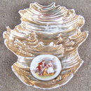 Vintage Ashtray with Gold Glaze and Colonial Decal