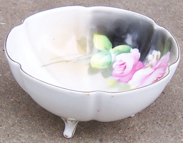 Noritake China Three Footed Bowl with Pink Roses