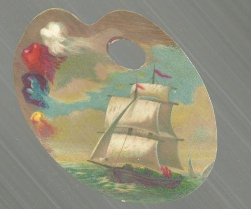 Victorian Artist Palette Die Cut Card with Sailing Ship