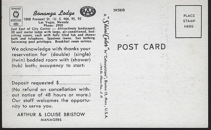 Vintage Unused Postcard of Bonanza Lodge, 1808 Fremont St, Las Vegas, Nevada AAA