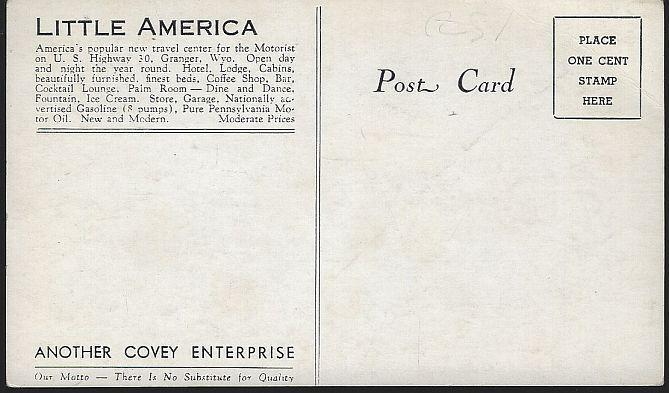 Vintage Unused Postcard of Covey's Little America, Highway 30, Granger, Wyoming