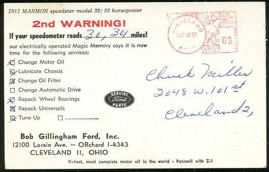 Postcard of 1911 Marmon Speedster Model 32
