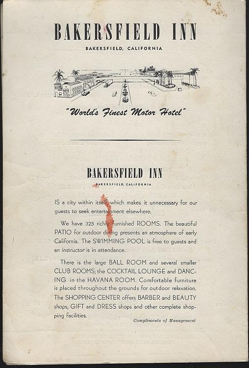 Vintage Menu for Bakersfield Inn, Bakersfield, California World's Finest Hotel