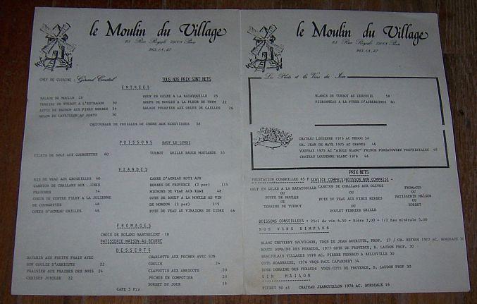 Vintage Menu for Le Moulin du Village, 25 Rue Royale, Paris, France