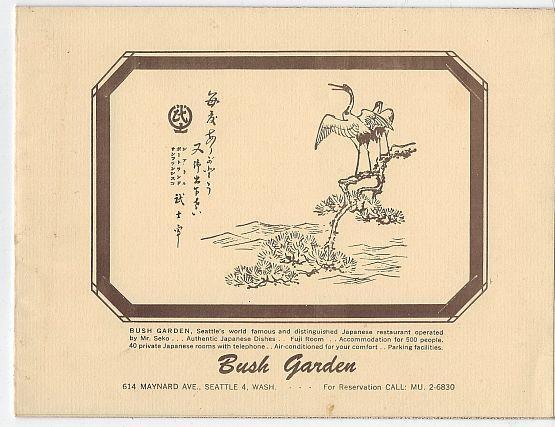 Souvenir Menu for Bush Garden Japanese Restaurant, Seattle, Washington Mr. Seko