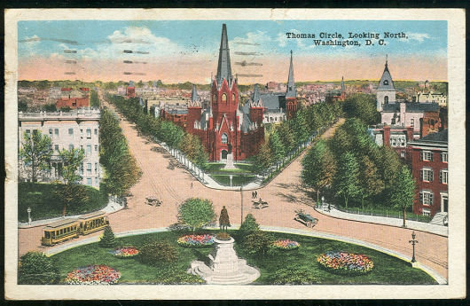Postcard of Thomas Circle Looking North Washington D.C.