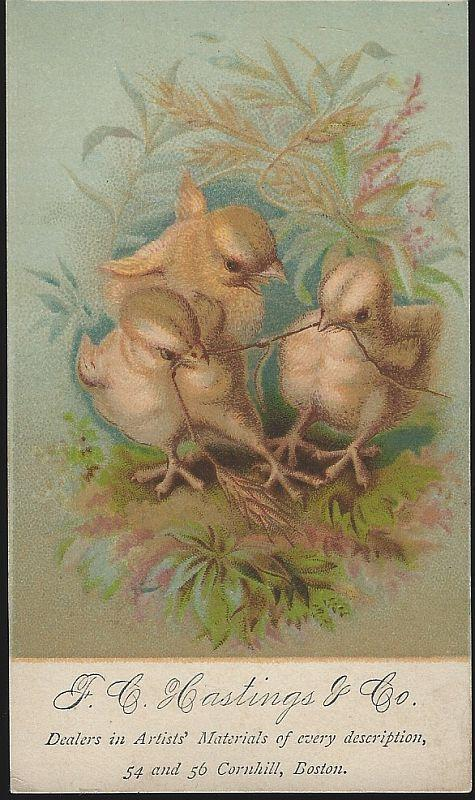 Victorian Trade Card for F. C. Hastings wuth Chicks Fighting Over Worm