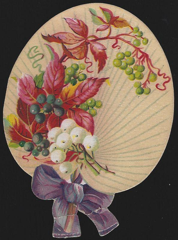 Victorian Die Cut Fan Trade Card with Flowers