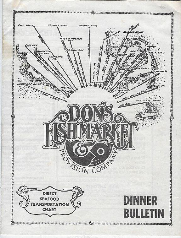 Vintage Dinner Menu from Don's Fishmarket and Provision Co., Chicago, Illinois