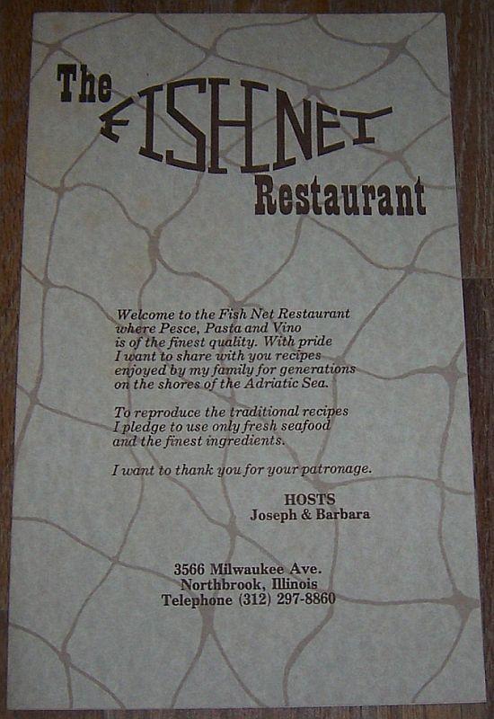 Vintage Menu from the Fishnet Restaurant 2566 Milwaukee Ave Northbrook, Illinois